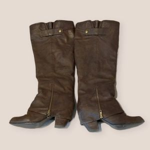 Spring Brown Vegan Leather Knee High Boots